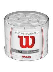 Wilson Pro Perforated Feel Overgrip Set for Tennis Racket, 60 Piece, White