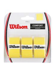 Wilson Pro Comfort Overgrip Set for Tennis Racket, 3 Piece, Yellow