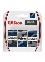 Wilson Camo Comfort & Absorbent Overgrip Set for Tennis Racket, 3 Piece, Blue/Black