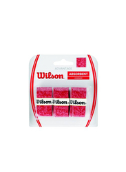 Wilson Advantage Absorbent Overgrip Set for Tennis Racket, 3 Piece, Red