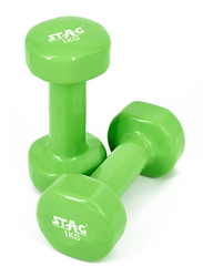 Stag Vinyl Professional Dumbbell, 2 Pieces x 1 Kg, Green