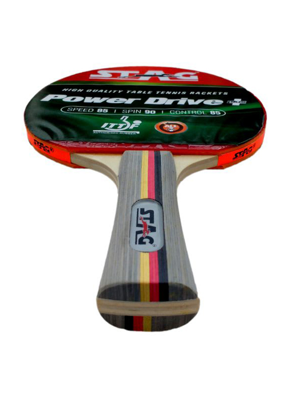 Stag Power Drive Plus Table Tennis Racket, Multicolor
