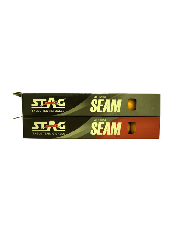 Stag Seam Table Tennis Ball Set, 40mm, 12 Pieces, Orange