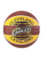 Spalding NBA Team Claveland Cavaliers Basketball Ball, Size 7, Yellow/Brown