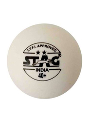 Stag Two Star Table Tennis Ball Set, 40mm, 6 Pieces, White
