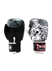 Twins Special 14oz FBGV-L3 Lion Printed Fancy Boxing Gloves, White