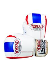 Yokkao 12oz Thai Flag II Boxing Gloves, White/Blue/Red