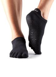 Toesox Full Toe Low Rise Socks, Extra Small, Black