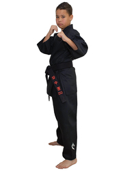Tatsu Dragon 5/180 Karate Uniform with Gold Dragon Print, Black