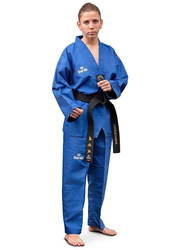 Daedo Size 1 WTF Seoul Style Dobok with Black Collar, Blue