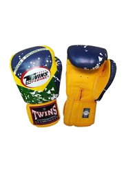 Twins Special 12oz FBGV-44BZ Flag of Brazil Fancy Boxing Gloves, Yellow/Blue