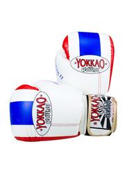 Yokkao 10oz Thai Flag II Boxing Gloves, White/Blue/Red