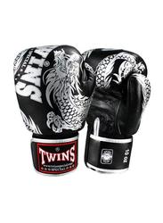 Twins Special 16oz FBGV-49SV Fancy Boxing Gloves, Black/Silver