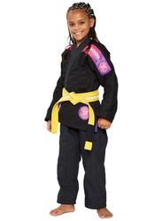 Atama M0 Ultra Light Kids Kimono for Girls, Black/Pink