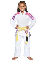 Atama M1 Ultra Light Kids Kimono for Girls, White/Pink