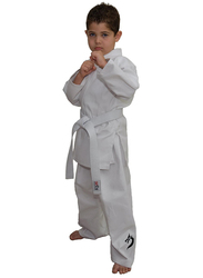 Tatsu Dragon 6/190 Karate Uniform with Black Dragon Print, White