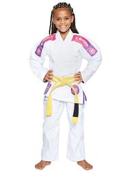 Atama M3 Ultra Light Kids Kimono for Girls, White/Pink