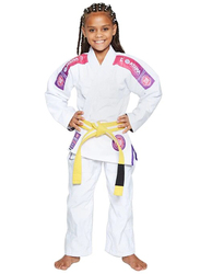 Atama M2 Ultra Light Kids Kimono for Girls, White/Pink