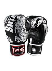 Twins Special 14oz FBGV-49SV Fancy Boxing Gloves, Black/Silver
