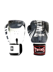 Twins Special 10oz Leather TW5 Boxing Gloves, White/Black