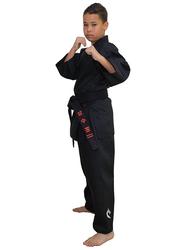 Tatsu Dragon 3/160 Karate Uniform with Gold Dragon Print, Black