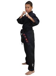 Tatsu Dragon 4/170 Karate Uniform with Gold Dragon Print, Black