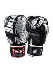 Twins Special 12oz FBGV-49SV Fancy Boxing Gloves, Black/Silver