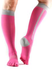 Toesox Zoe Sport Compression Knee High 4AM Socks, Large, Flush