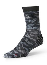 Base Rugged Crew High Rise Sport Socks, Large, Black/Grey