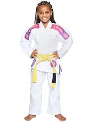 Atama M0 Ultra Light Kids Kimono for Girls, White/Pink
