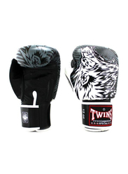 Twins Special 12oz FBGV-L3 Lion Printed Fancy Boxing Gloves, White