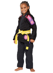 Atama M3 Ultra Light Kids Kimono for Girls, Black/Pink
