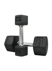 TKO Hex Dumbbells, 55LBS Pair, Black/Silver