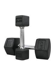 TKO Hex Dumbbells, 85LBS Pair, Black/Silver