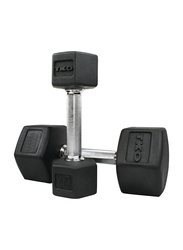 TKO Hex Dumbbells, 20LBS Pair, Black/Silver