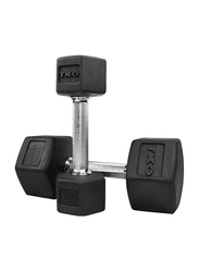 TKO Hex Dumbbells, 75LBS Pair, Black/Silver