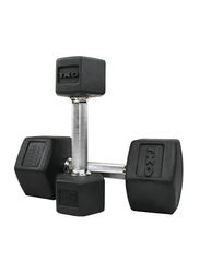 TKO Hex Dumbbells, 65LBS Pair, Black/Silver