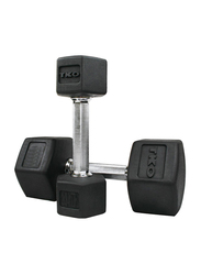 TKO Hex Dumbbells, 40LBS Pair, Black/Silver