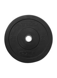 TKO Rubber Bumper Plate, 25LBS, Black