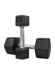 TKO Hex Dumbbells, 50LBS Pair, Black/Silver