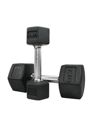 TKO Hex Dumbbells, 70LBS Pair, Black/Silver
