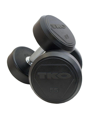 TKO Solid Rubber Dumbbells, 55LBS, Black