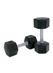 TKO Hex Dumbbells, 30LBS Pair, Black/Silver