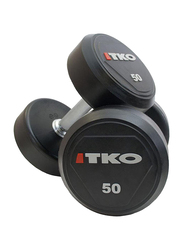 TKO Solid Rubber Dumbbells, 50LBS, Black