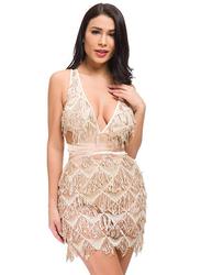 VBTQE Bailey Strap Mini Dress, 6 UK, Gold