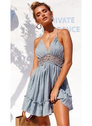VBTQE Trinity Strap Mini Dress, 6 UK, Blue