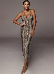 VBTQE Lucia Snake Print Strap Maxi Dress, 10 UK, Brown