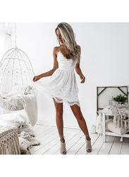 VBTQE Scarlett Strapless Knee Length Dress, 12 UK, White