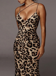 VBTQE Josie Leopard Print Strap Maxi Dress, 10 UK, Brown
