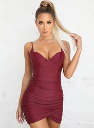 VBTQE Molly Strap Mini Dress, 10 UK, Maroon